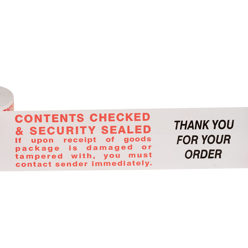 'Contents Checked' Printed e-tape
