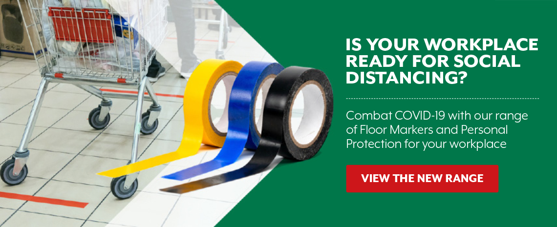 Combat COVID-19 with our range of Floor Markers and Personal Protection for your workplace